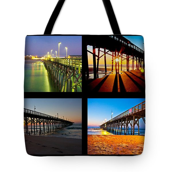 Topsail Piers at Sunrise Tote Bag by Betsy C  Knapp
