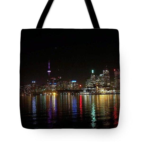 Toronto Skyline At Night Tote Bag by Lingfai Leung