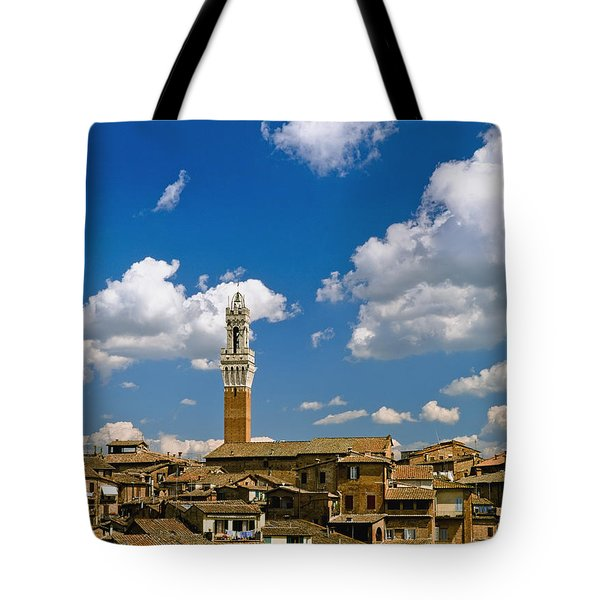 Torre De Mangia And Siena Skyline Tote Bag by Axiom Photographic