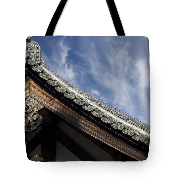 TOSHODAI-JI TEMPLE ROOF GARGOYLE - NARA JAPAN Tote Bag by Daniel Hagerman
