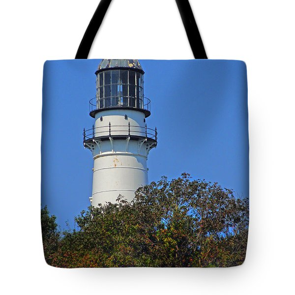 Tower Of East Light Of Two Lights Tote Bag by Nancy Griswold