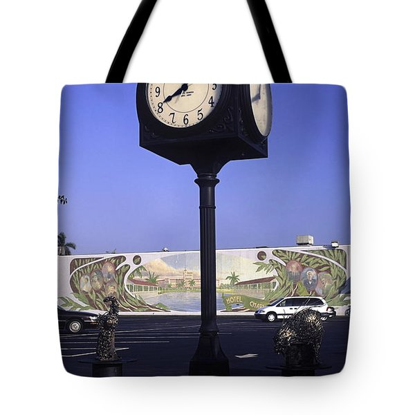 Town Clock Tote Bag by Sally Weigand