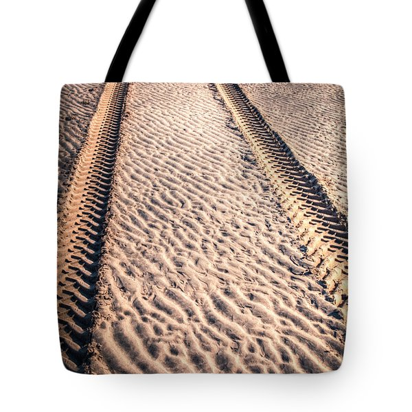 Tracks In The Sand Tote Bag by Adrian Evans