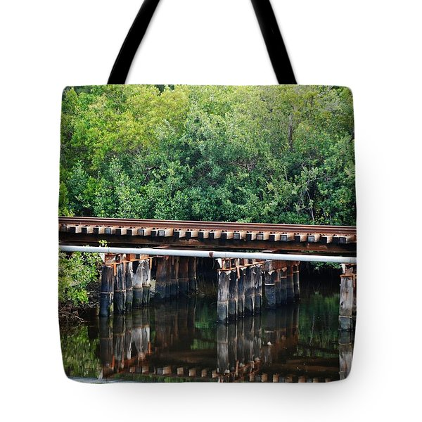 Tracks On The River Tote Bag by Rob Hans