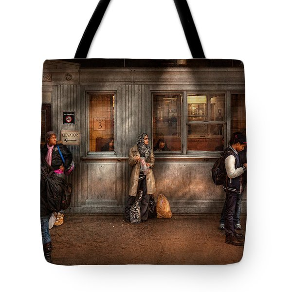 Train - Station - Waiting for the next train Tote Bag by Mike Savad