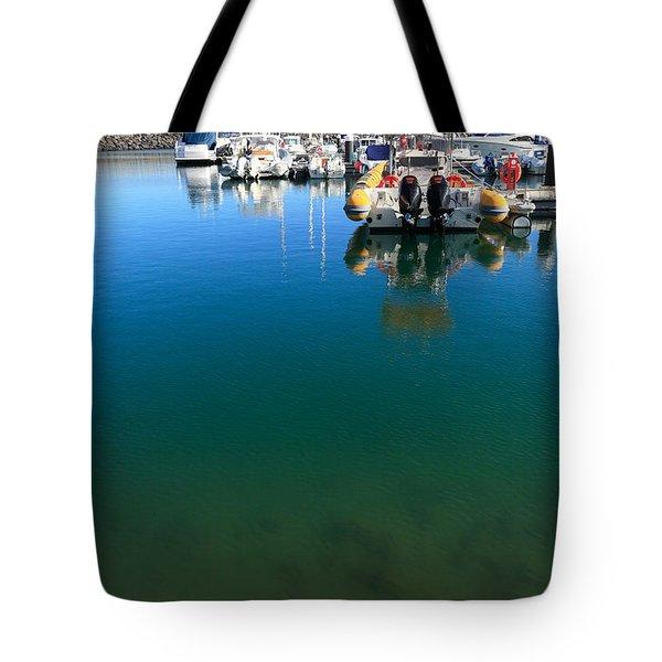 Tranquility At The Marina Tote Bag by Gaspar Avila