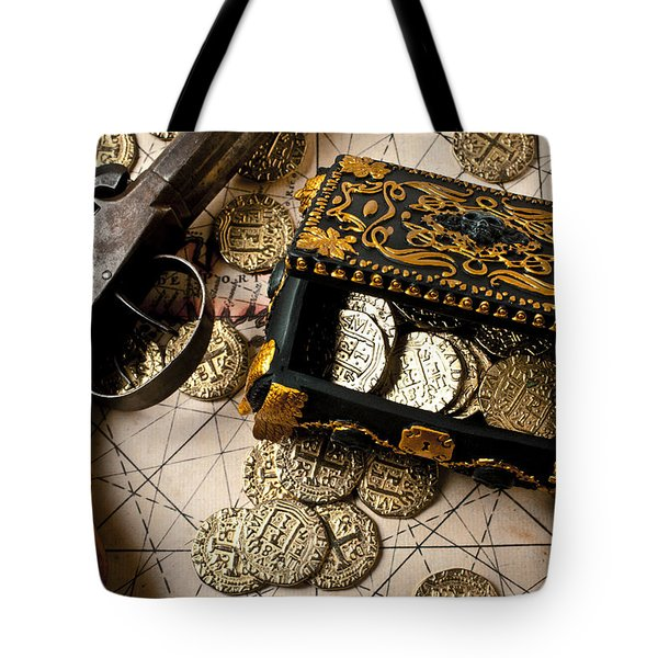 Treasure box with old pistol Tote Bag by Garry Gay