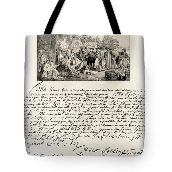 Treaty Between William Penn Tote Bag by Photo Researchers