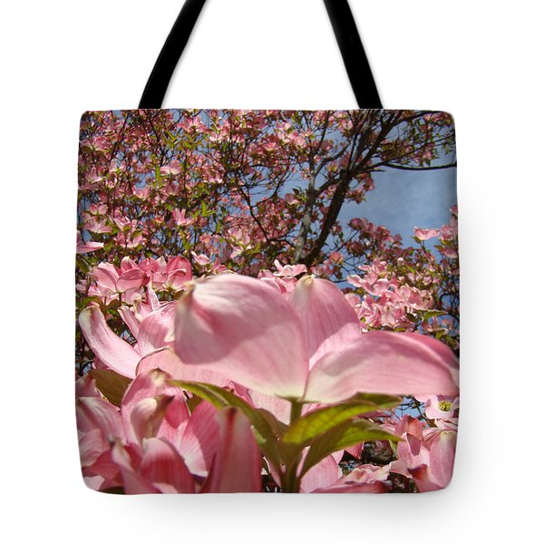 Trees Nature Fine Art Prints Pink Dogwood Flowers Tote Bag by Baslee Troutman