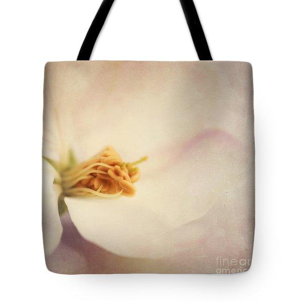 Tresfonds Heart Of A White Blossom Tote Bag by Priska Wettstein