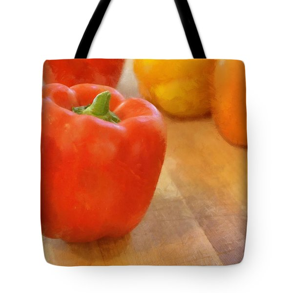 Tri Colored Peppers Tote Bag by Michelle Calkins