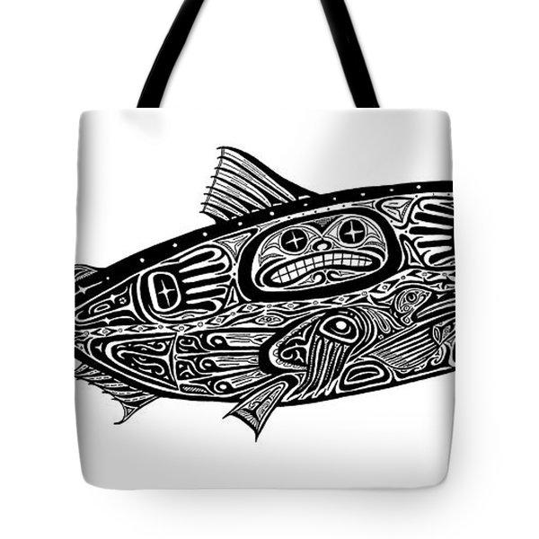 Tribal Salmon Tote Bag by Carol Lynne