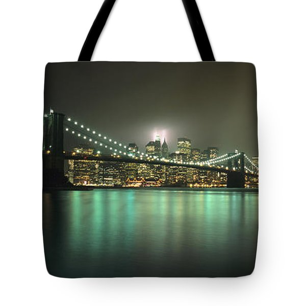 Tribute In Light, Lower Manhattan On Tote Bag by Axiom Photographic