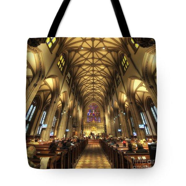 Trinity Church Nyc Tote Bag by Yhun Suarez
