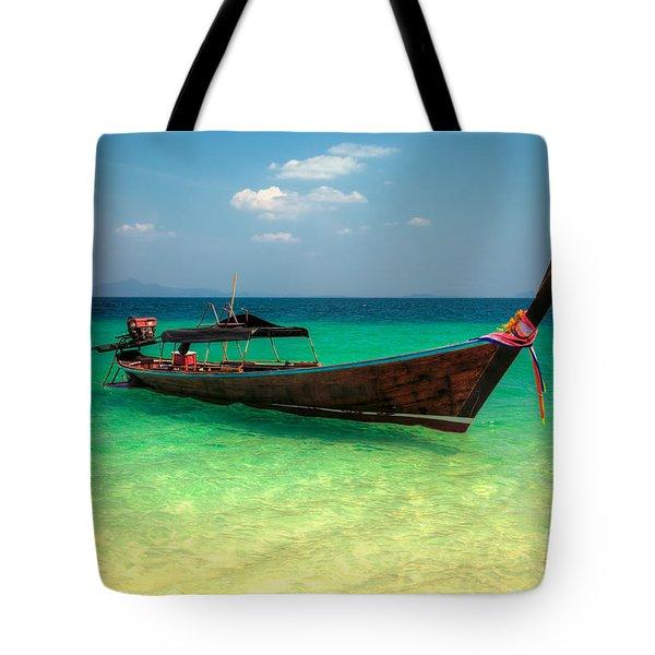 Tropical Boat Tote Bag by Adrian Evans