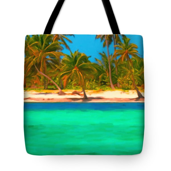 Tropical Island 5 - Painterly Tote Bag by Wingsdomain Art and Photography