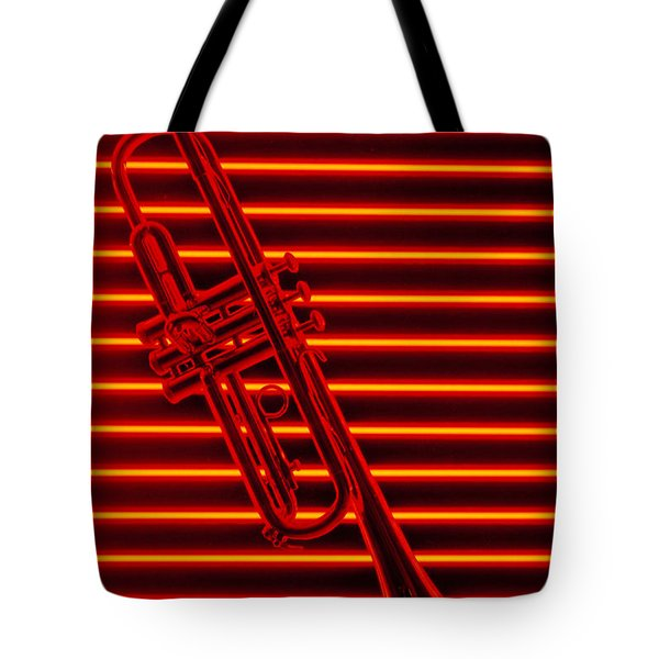 Trumpet And Red Neon Tote Bag by Garry Gay