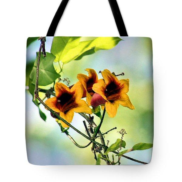 Trumpeting Spring Tote Bag by Kristin Elmquist