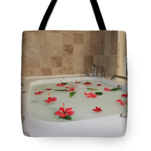 Tub Of Hibiscus Tote Bag by Shane Bechler