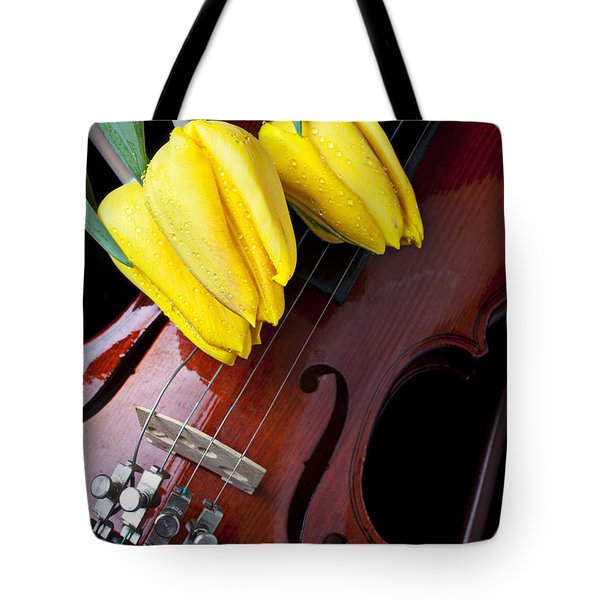 Tulips and Violin Tote Bag by Garry Gay