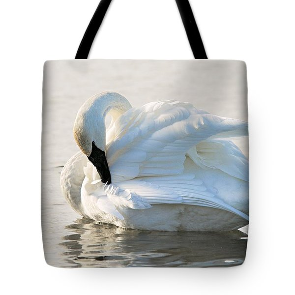 Tumpeter Swan Tote Bag by Larry Ricker