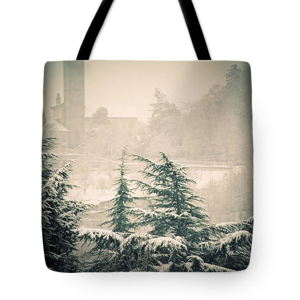 Turret in snow Tote Bag by Silvia Ganora
