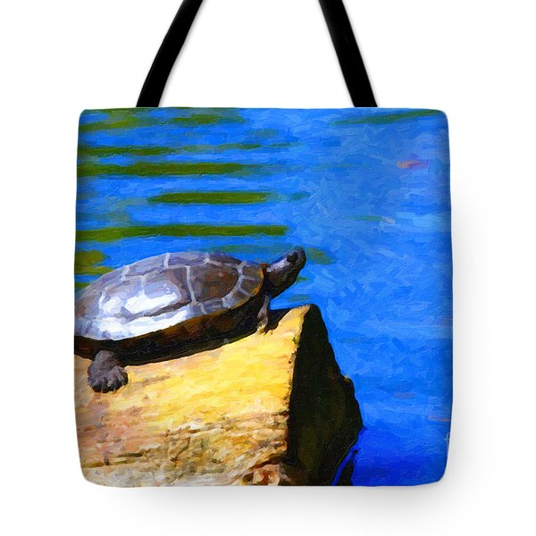 Turtle Basking In The Sun Tote Bag by Wingsdomain Art and Photography