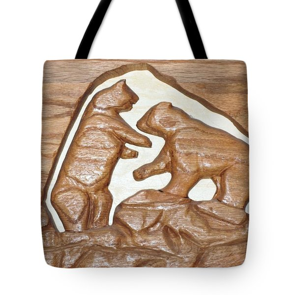 Two Bears Playing Poker Tote Bag by Robert Margetts