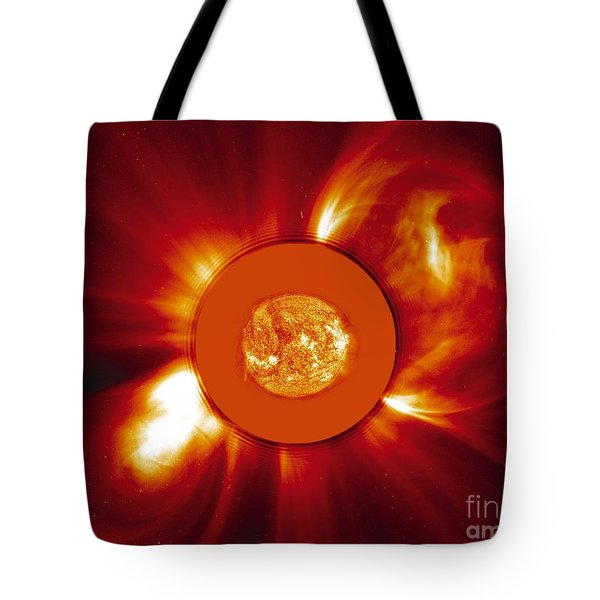 Two Coronal Mass Ejections Tote Bag by Solar & Heliospheric Observatory consortium (ESA & NASA)