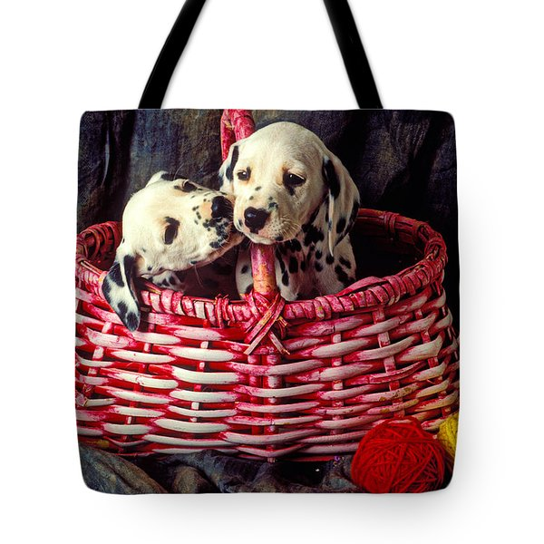 Two Dalmatian Puppies Tote Bag by Garry Gay