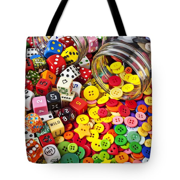Two Jars Dice And Buttons Tote Bag by Garry Gay