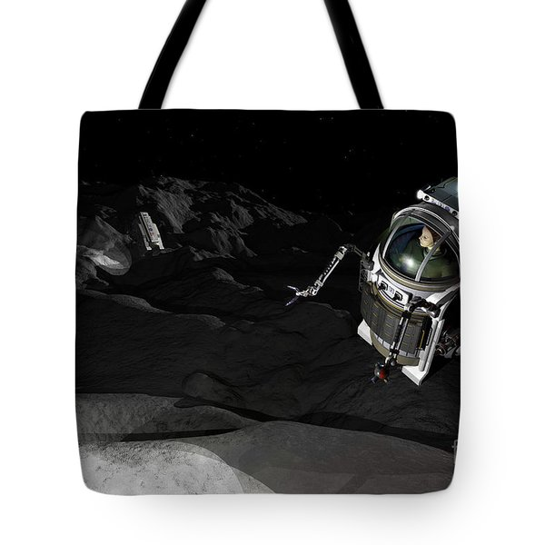Two Manned Maneuvering Vehicles Explore Tote Bag by Walter Myers