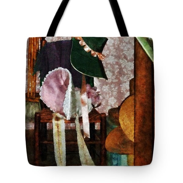 Two Old-Fashioned Bonnets Tote Bag by Susan Savad