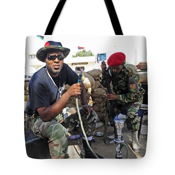 Two Rebel Fighters Man A Checkpoint Tote Bag by Andrew Chittock