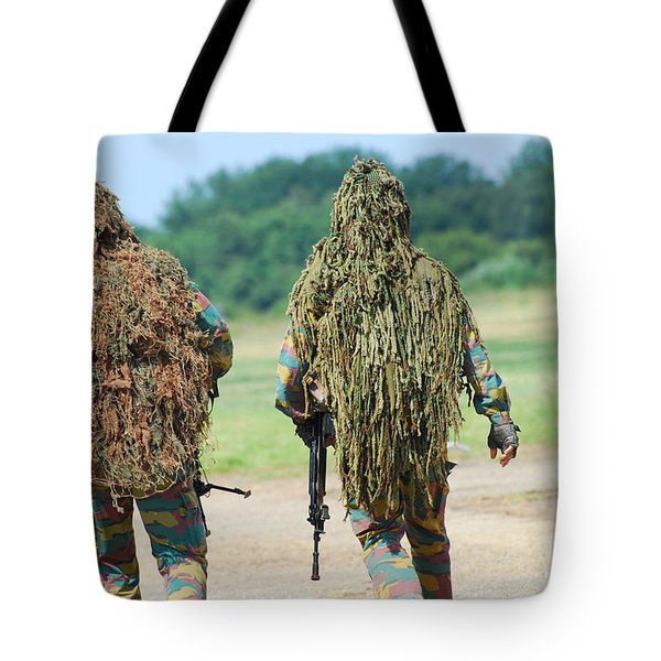 Two Snipers Of The Belgian Army Dressed Tote Bag by Luc De Jaeger