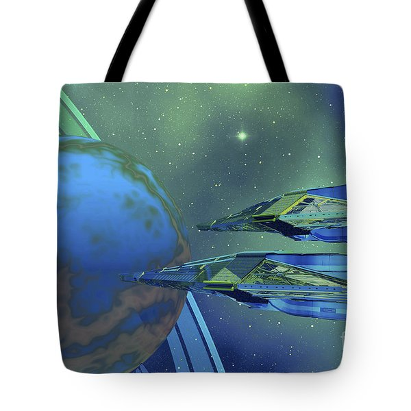 Two Spacecraft Fly To Their Home Planet Tote Bag by Corey Ford