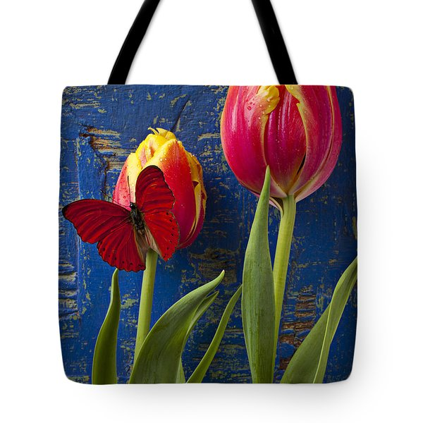 Two Tulips With Red Butterfly Tote Bag by Garry Gay