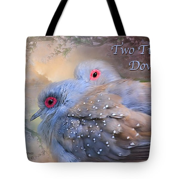 Two Turtle Doves Card Tote Bag by Carol Cavalaris