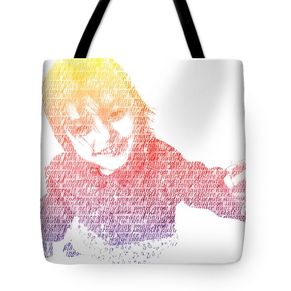 Typography Portrait Childhood Wonder Tote Bag by Nikki Marie Smith