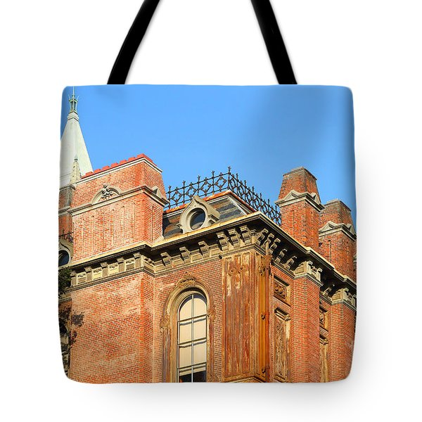 UC Berkeley . South Hall . Oldest Building At UC Berkeley . Built 1873 . The Campanile in The Backgr Tote Bag by Wingsdomain Art and Photography