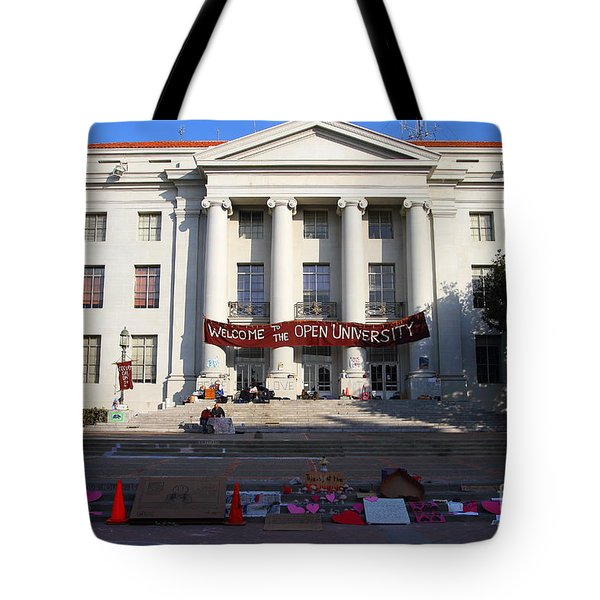 UC Berkeley . Sproul Hall . Sproul Plaza . Occupy UC Berkeley . 7D10017 Tote Bag by Wingsdomain Art and Photography