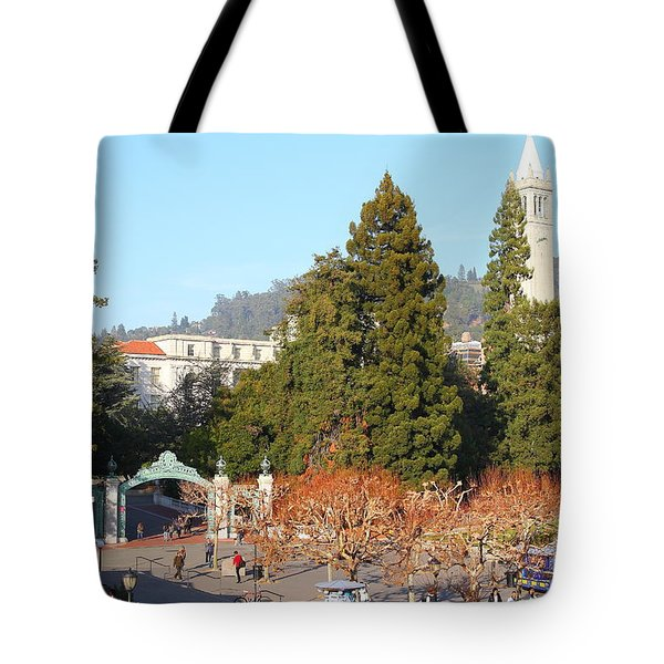 Uc Berkeley . Sproul Plaza . Sather Gate And Sather Tower Campanile . 7d10015 Tote Bag by Wingsdomain Art and Photography