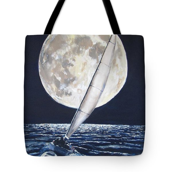 Under Full Sail..Under Full Moon Tote Bag by Jack Skinner