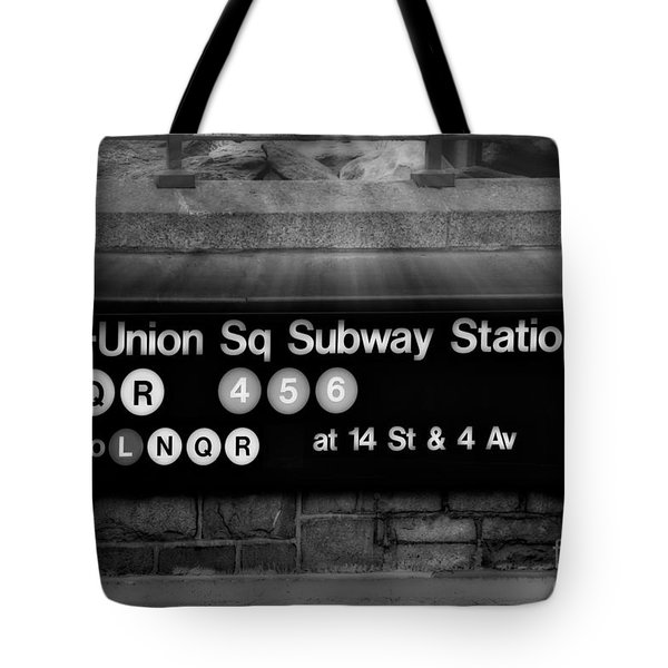 Union Square Subway Station BW Tote Bag by Susan Candelario