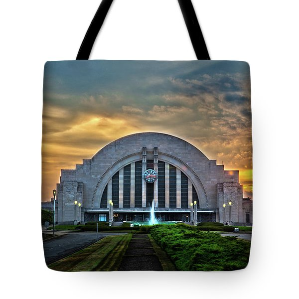 Union Terminal At Sunset Tote Bag by Keith Allen