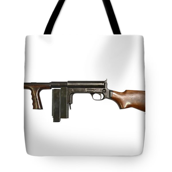 United Defense M42 Submachine Gun Tote Bag by Andrew Chittock