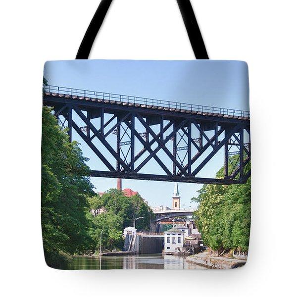 Upside-down Railroad Bridge Tote Bag by Guy Whiteley