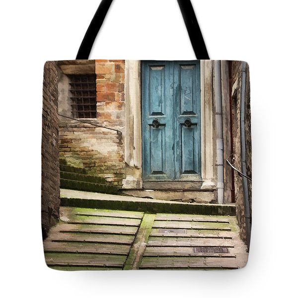 Urbino Door And Stairs Tote Bag by Sharon Foster