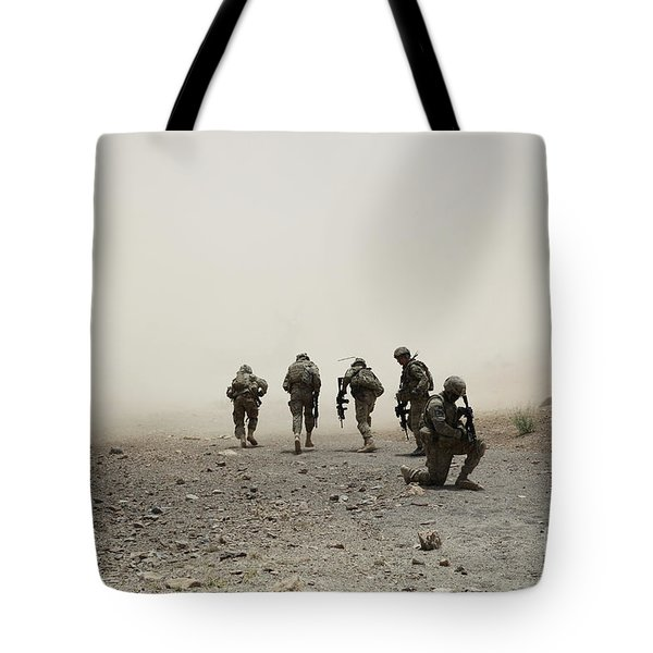 U.s. Army Captain Provides Security Tote Bag by Stocktrek Images