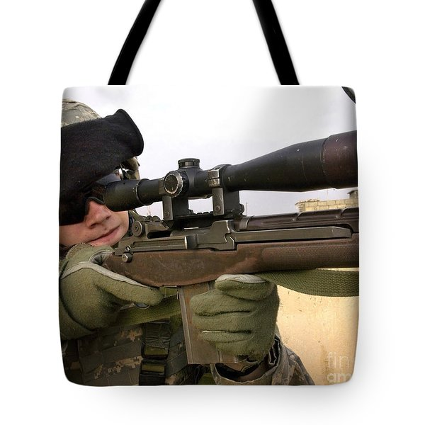 U.s. Army Specialist Provides Overwatch Tote Bag by Stocktrek Images